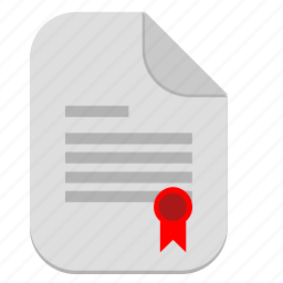 certificate, document, file, license, operation icon