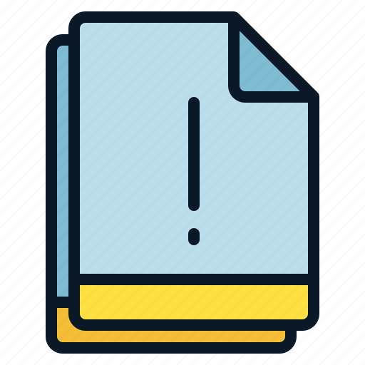 exclamation, file, important, multiple, notice icon