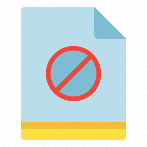 blocked, denied, file, stop icon