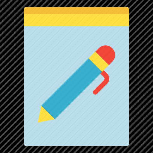 file, paper, pen, write icon