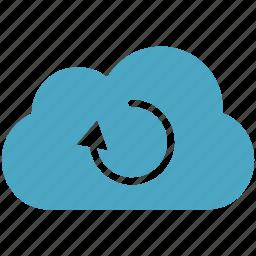 arrow, blue, cloud, cloudy, refresh icon