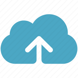 arrow, blue, cloud, cloudy, upload icon