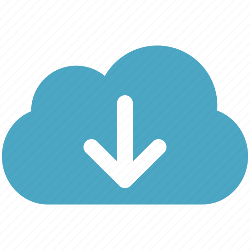 arrow, blue, cloud, cloudy, download icon