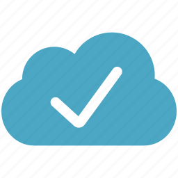 blue, check, cloud, cloudy icon
