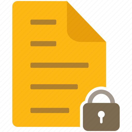 content, document, file, letter, lock, page, secure icon