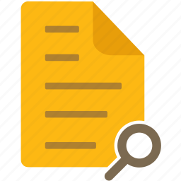 content, document, file, letter, magnify glass, page, zoom icon