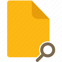 content, document, file, magnify glass, page, zoom icon