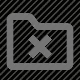 close, delete, folder icon
