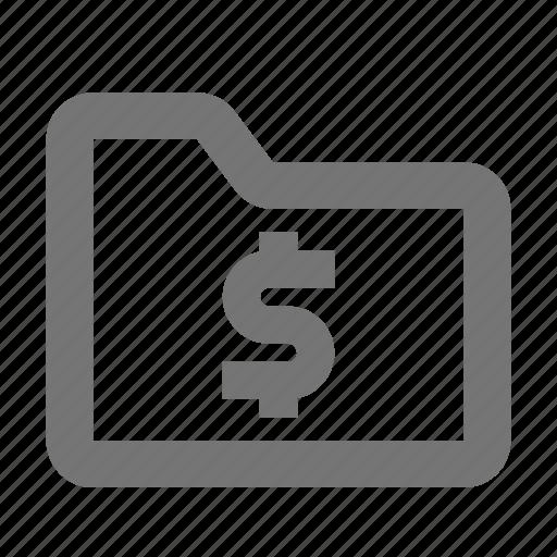 dollar, folder, money icon