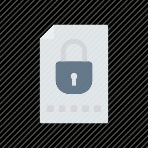 document, file, lock, private icon