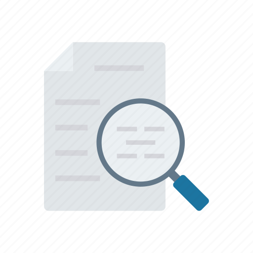 analysis, magnifier, page, search icon