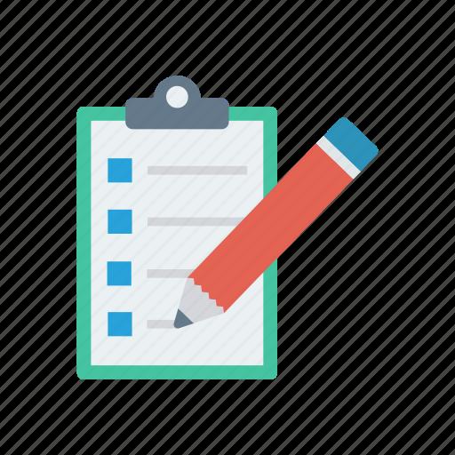 checklist, clipboard, document, pen icon