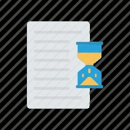 deadline, document, hourglass, stopwatch icon