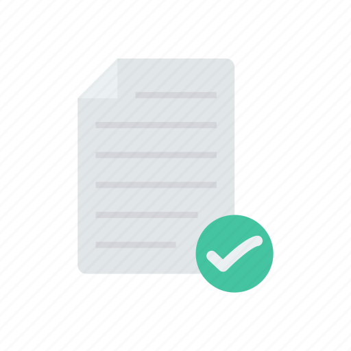 document, file, page, tick icon
