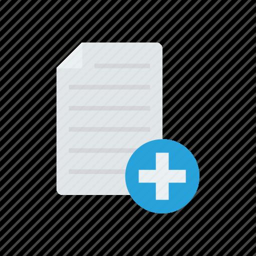 add, document, file, plus icon