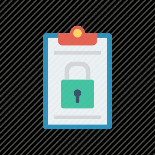 clipboard, document, lock, private icon