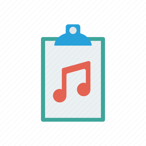 clipboard, file, melody, music icon