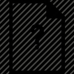 document, file, files, question mark icon