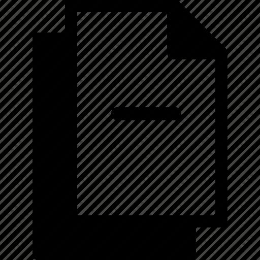 document, file, files, minus, remove icon