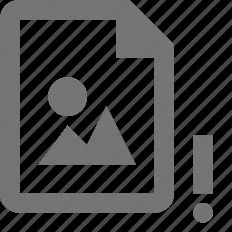 alert, error, exclamation, file, image icon
