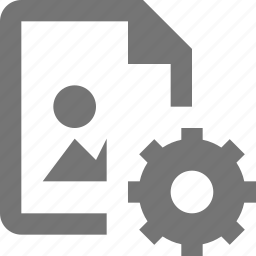 configuration, document, file, format, gear, image, settings icon
