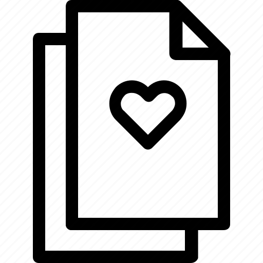 document, file, files, heart, like, love icon