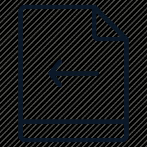 arrow, file, left, move icon
