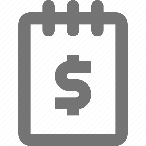 dollar, money, note, notepad icon