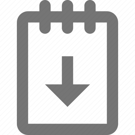 arrow, down, download, note, notepad icon