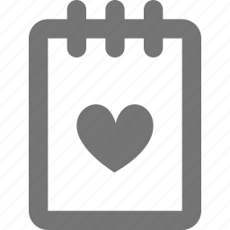 favorite, file, heart, note, notepad icon