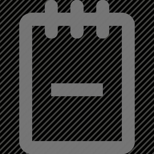 minimize, minus, note, notepad icon