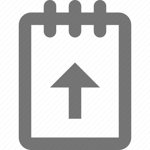 arrow, note, notepad, up, upload icon