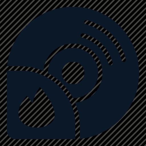 burn, disc, file, process icon