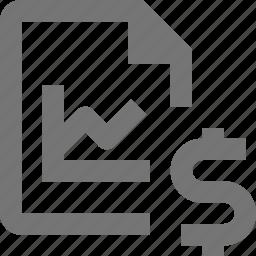dollar, file, graph, money icon