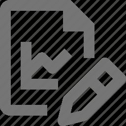 edit, file, graph, pencil icon