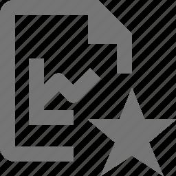 favorite, file, graph, star icon