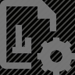 configuration, file, gear, graph, settings icon