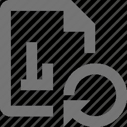 arrow, file, graph, refresh, reload, sync icon