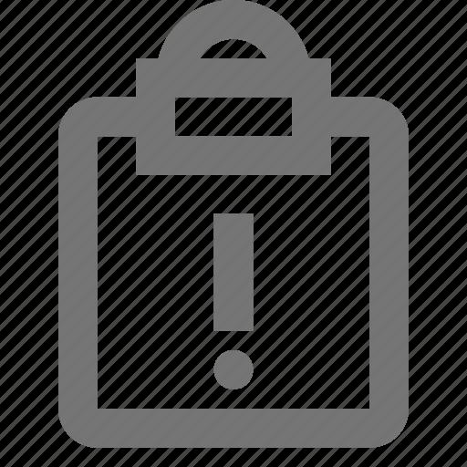 alert, clipboard, error, exclamation, tasks icon