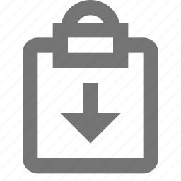 arrow, clipboard, down, download, tasks icon