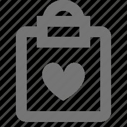 clipboard, favorite, heart, like, tasks icon
