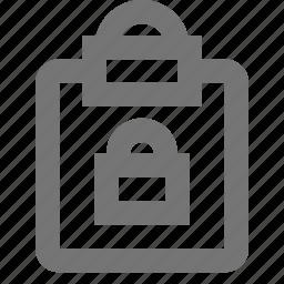 clipboard, lock, security, tasks icon