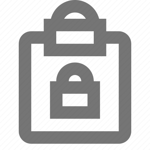 clipboard, file, lock, reminder, save, security, task, write icon