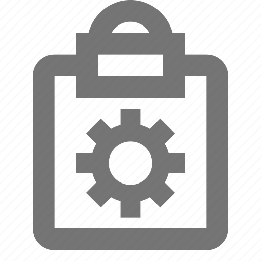 clipboard, configuration, gear, settings, tasks icon