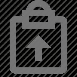 arrow, clipboard, tasks, up, upload icon