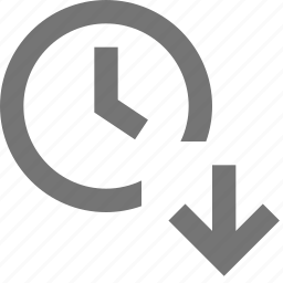 arrow, clock, down, download, time icon
