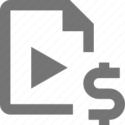 dollar, file, money, video icon