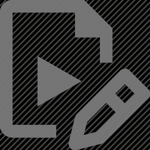 edit, file, pencil, video icon