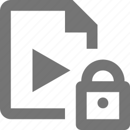 file, lock, security, video icon