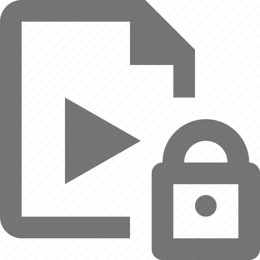 document, file, format, lock, paper, security, sheet, video icon
